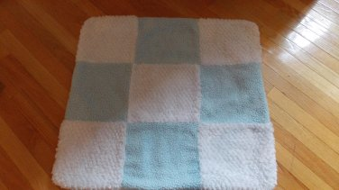 Kyle & Deena Light Baby Blue and White Patchwork Squares Chenille Fleece Sherpa Blanket