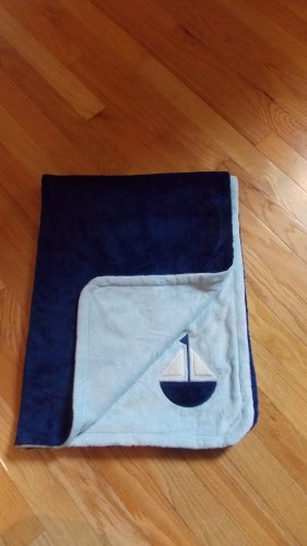 First Impressions Macys Navy Light Blue Velour Sailboat Baby Blanket
