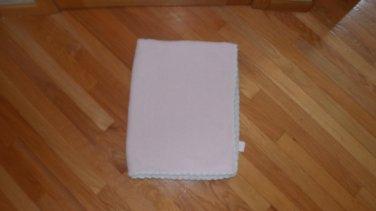 Koala Baby Pink White Knit Chenille Baby Blanket Scallop Trim Edge