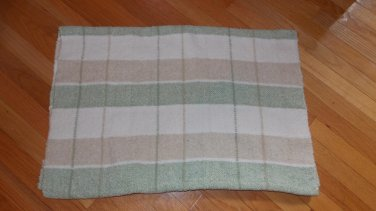 Bright Future Green Cream White Tan Beige Plaid Knit Chenille Baby Blanket