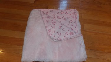 Koala Baby Thick Pink Fur Floral Flower Baby Blanket Cotton Back 299146