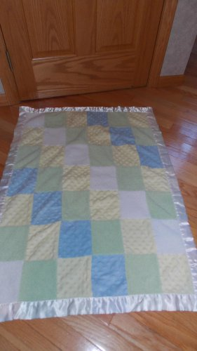 Carters Just One Year Blue Green Yellow Patchwork Minky Dot Chenille Sherpa Satin Baby Blanket