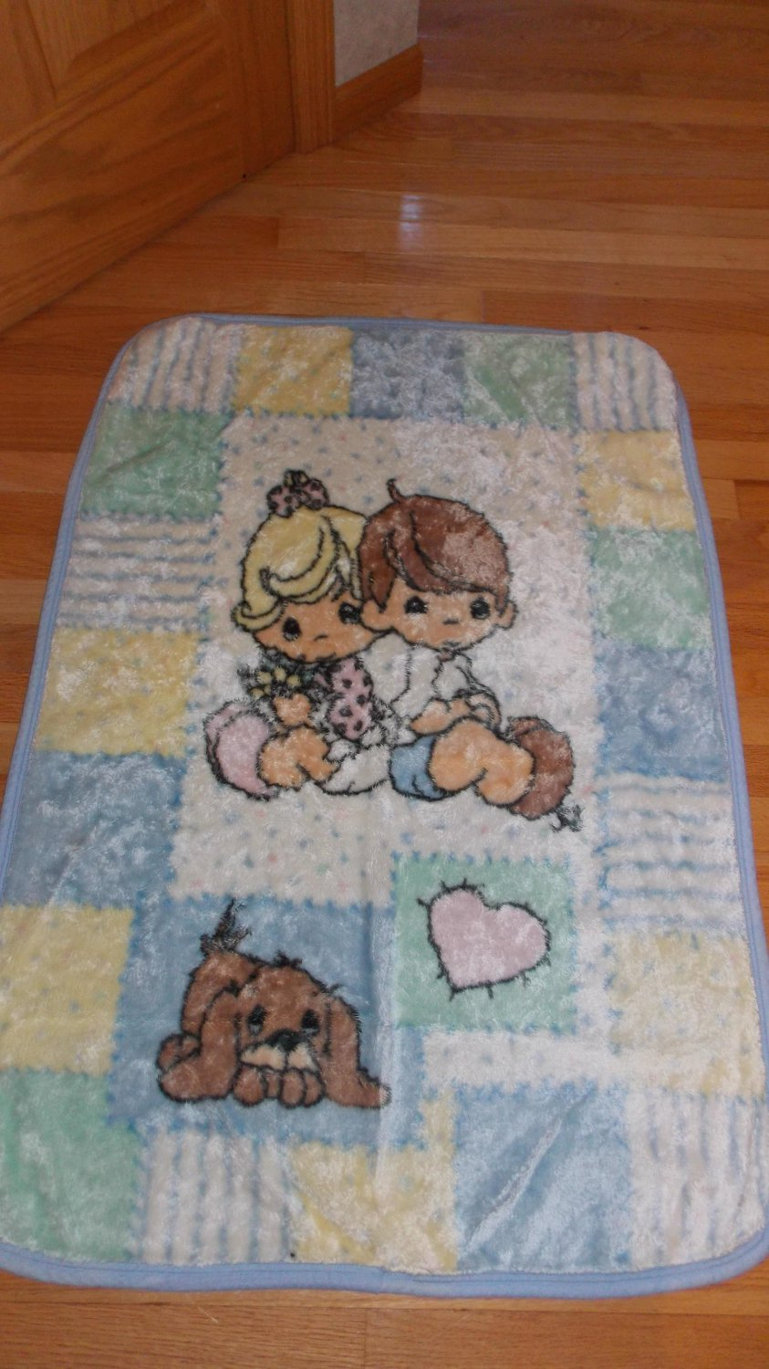 Enesco Precious Moments Plush Luxe Thick Baby Blanket Boy Girl Puppy Dog Heart Patchwork