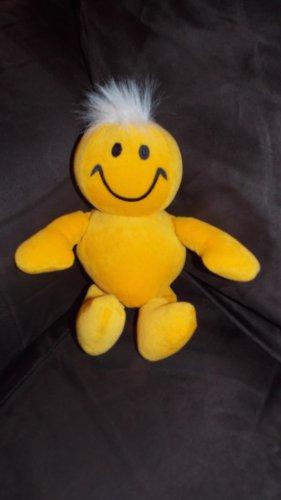 MTY  International Yellow Plush Smile Giggle Guy Doll White Hair