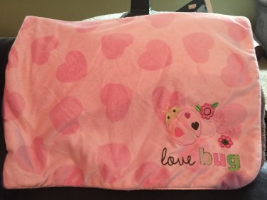 Carters Just One Year Pink Heart Love Bug Brown Sherpa Baby Blanket 49404J