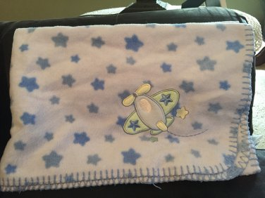 Just Born Blue Fleece Stars Airplane Baby Blanket 4420K