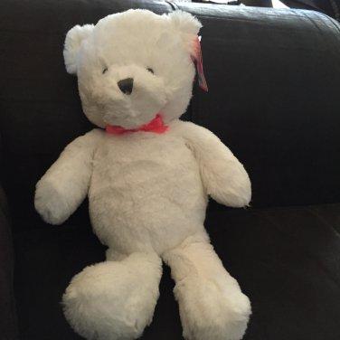 Carters White Plush Teddy Bear Gray Eyes Nose Pink Ribbon Bow 61148