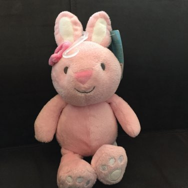 Carters Just One You Pink Plush Bunny Rabbit Flower Ear Triangle Nose Rattle 63004