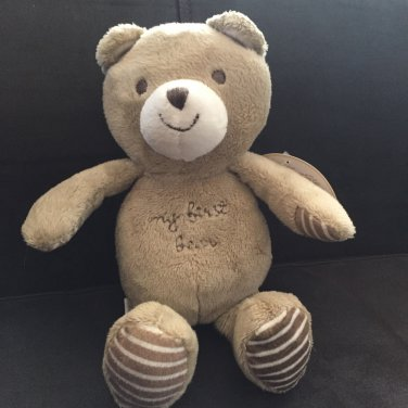 Carters Child of Mine Brown Beige Tan Plush Teddy My First Bear Stripe Hands Feet 62012