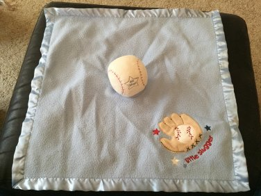 Carters Little Slugger Blue Baseball Lovey Security Blanket #X18985H