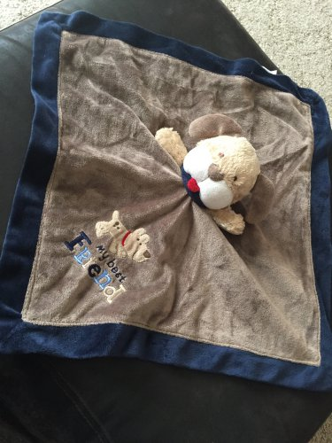 Carter's My Best Friend Baby Security Blanket Blue Brown Puppy Dog Satin Lovey