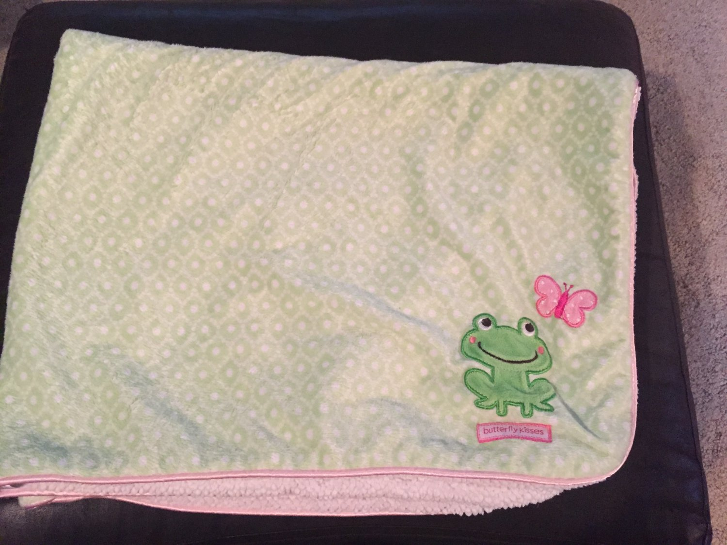 Carters Just One You Green White Pink Butterfly Kisses Frog Sherpa Baby Blanket Style J4271
