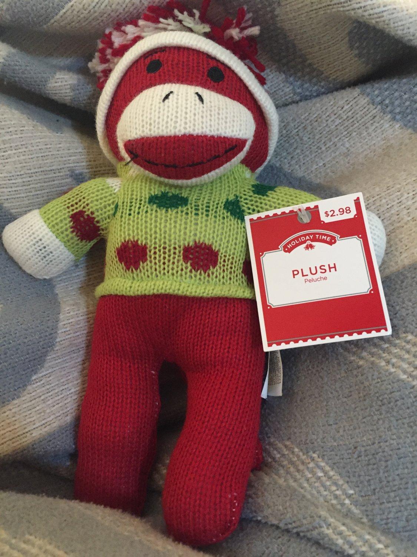 cf7b38c82 DanDee Plush Red Sock Monkey Green Polka Dot Sweater Hat Christmas