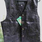 Black Leather Unisex Biker Vest, M New With Tags, Ret. $59.95
