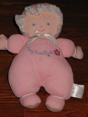 Prestige Baby Pink plush Doll with a flower and says My First Doll