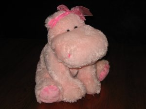 Russ Berrie & Co. Darly Pink Girly Hippo Plush Lovey 29502