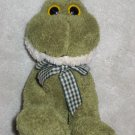 World Market Plush Frog with Gingham Bow