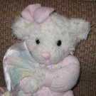 First and Main Pajama Pal White Plush Bear holding a blankie
