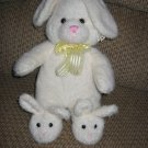 SKM Enterprises Plush White Bunny Rabbit with Bunny Rabbit Slippers