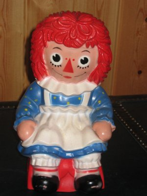 Vintage Raggedy Ann Money Coin Bank 1972