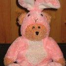 Linen 'N Things Plush Bear in Pink Rabbit Suit