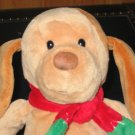 Prestige Toy co Tan puppy dog Rattle red and green scarf