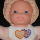 Fuzzy Fleece Goldberger Doll Peach colored with checkered hearts