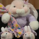 Pink Plush Bunny Rabbit  Jelly Bean Blanket  bunny slippers