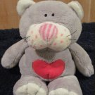 Ty Classic Kissycat Retired Gray Cat Lovey 2005 with Red Heart on Tummy