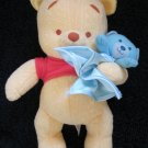 Winnie the Pooh Fisher Price Plush Baby Pooh Bear with blue Lovey Security Blanket & blue bear