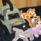 Aurora Baby My Photo Safari Plush Jeep with Four animals elephant tiger hippo giraffe