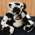 Authentic Vermont Black and White Teddy 'Cow' Bear with Cow Bell