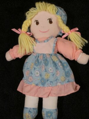 Imported by Antico Plush Pink and Blue Doll with Blonde braids