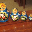Five pc Nesting Dolls Royal Blue with flowers