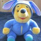 Mattel 1996 Disney Plush Winnie the Pooh Bear in a Blue Bunny Rabbit suit