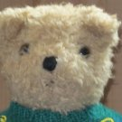 1992 Ty Teddy Bear Tan curly fur wearing a green alphabet sweater