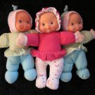 Two Goldberger Dolls One Cititoy Doll with velcro on hands Plush Pink and Blue dolls