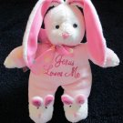 Dan Dee &#39;Jesus Loves Me&#39; Singing Pink Bunny Rabbit, wearing Bunny Slippers
