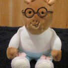 Eden Plush Arthur Doll Wearing Pajamas and bunny slippers