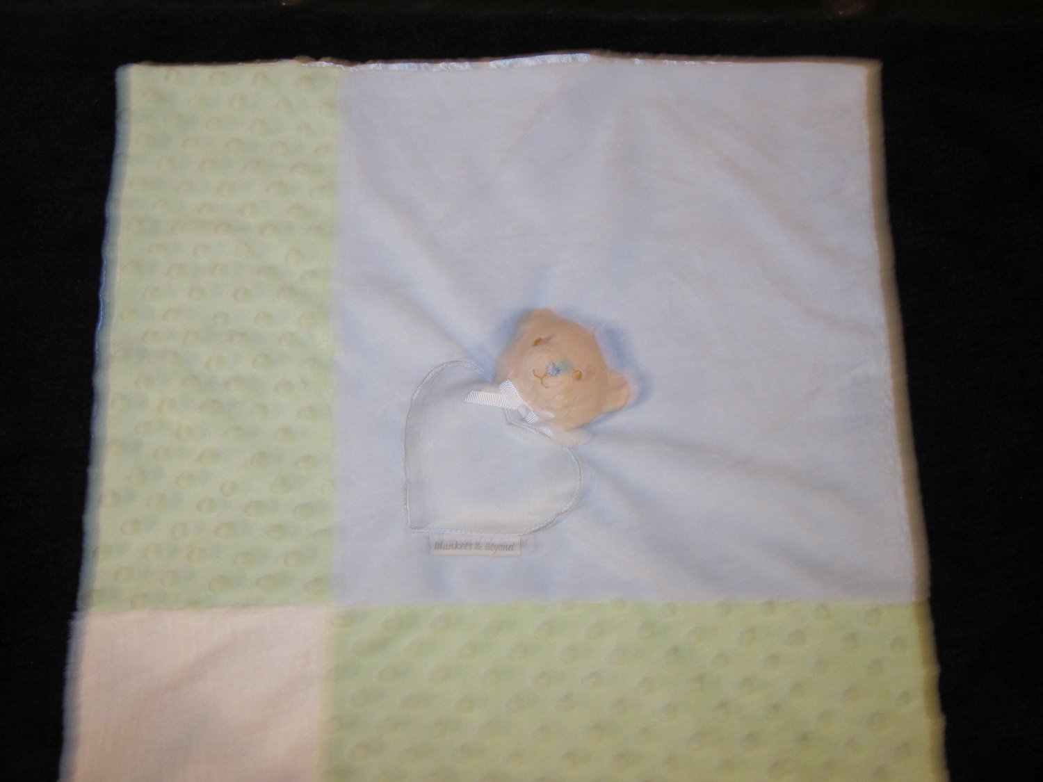 Blankets & Beyond Tan Bear Blue Green Minky Dot Lovey Security Blanket