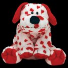 Ty Pluffies White Dog with Red hearts Plush Toy Puppy named Sweetly
