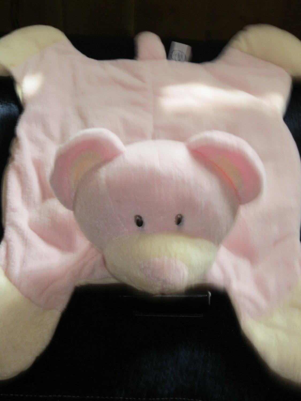 Jerry Elsner Co Pink and Cream Bear Security Blanket Lovey PJ Bag