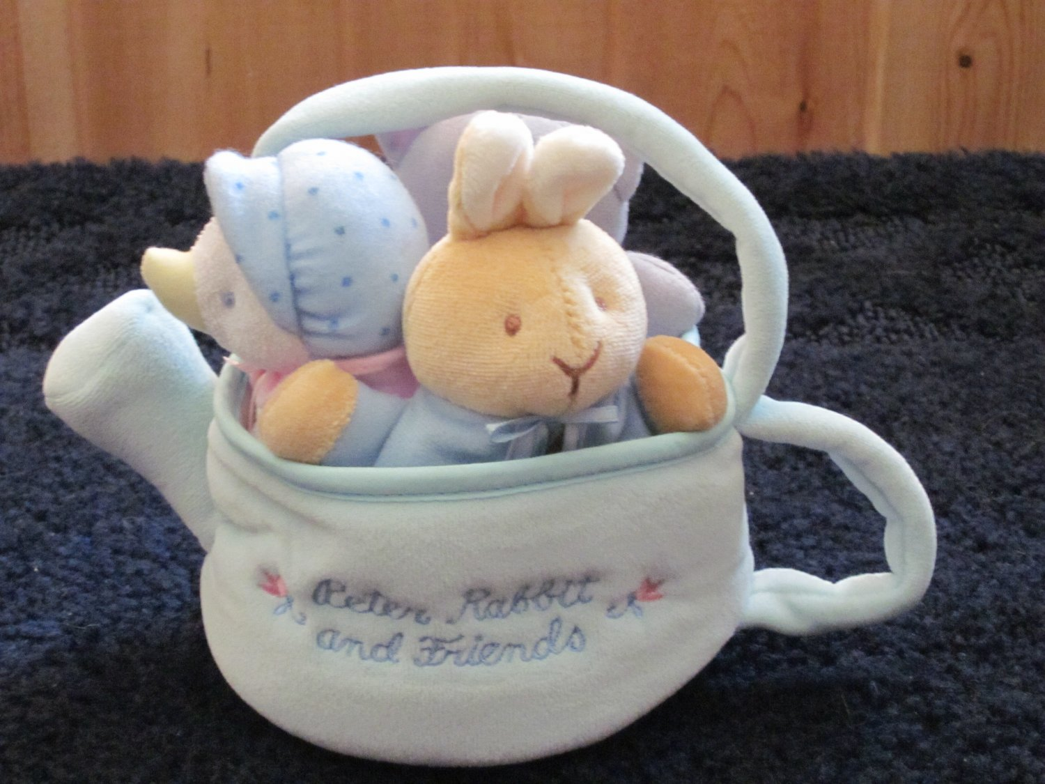 Eden Plush Watering Can or Tea Kettle with Peter Rabbit, Jemima Puddle Duck and Cat Plush Toys