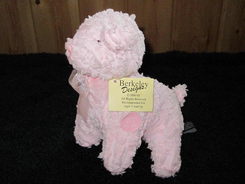 Berkeley Designs Pink Chenille Lamb or Dog? Musical Plush toy Jesus Loves me