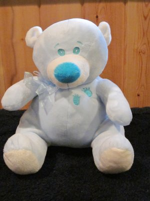 KellyToy Handcrafted Powder Blue Plush Bear Aqua nose