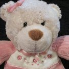 Carters Tan Baby Teddy Bear 8593 Pink chenille Pjs Flowers Plush Doll Rattle Toy