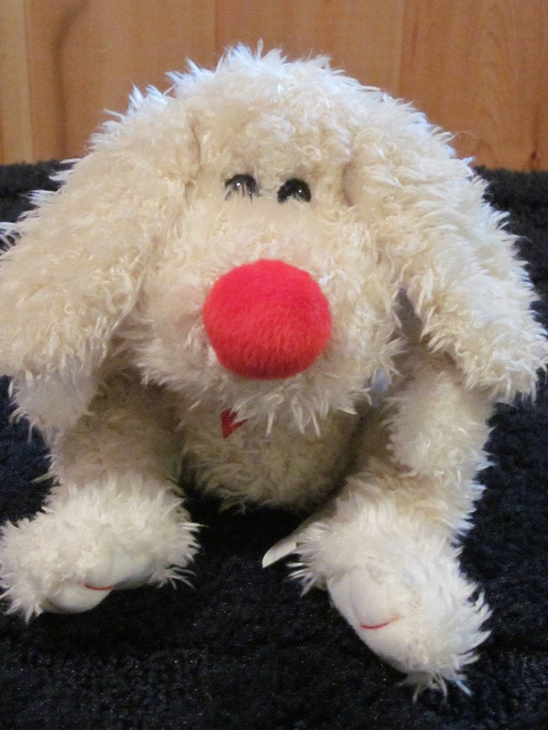 Animal Adventure Ivory Puppy Dog with Red nose Plush Toy