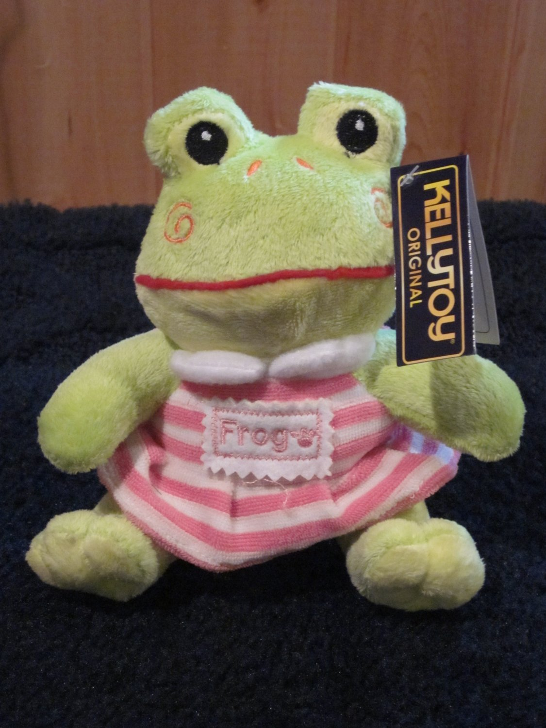 KellyToy Green Girl Frog with pink striped skirt