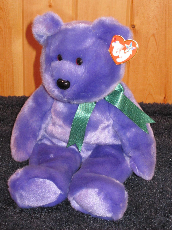 Ty Beanie Buddy Buddies Purple Bear named Employee Bear