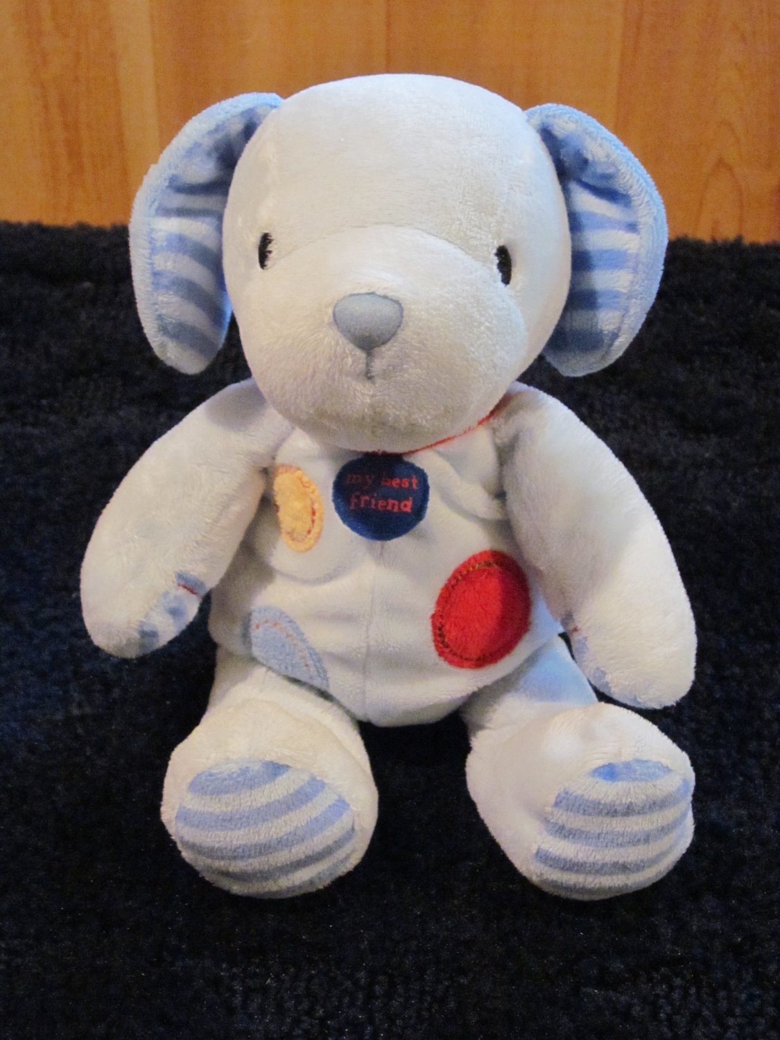 Carters Just One Year Blue Puppy Dog My Best Friend Plush Rattle